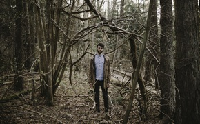 Картинка forest, trees, man, branches, jacket, beard, direct gaze