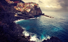 Картинка море, пейзаж, скалы, побережье, дома, Италия, Italy, Manarola