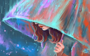Картинка девушка, дождь, зонт, арт