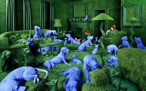 Обои Sandy Skoglund, навязчивые идеи, синие собаки, зеленая комната