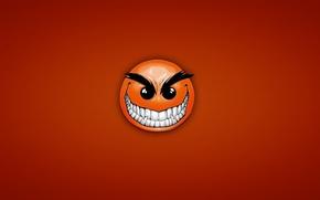 Обои красный, улыбка, смайл, red, smile, хитрый, зубастый, angry