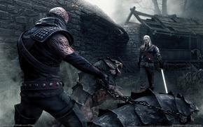 Обои туман, монстры, меч, ведьмак