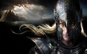 Картинка ветер, эльф, башня, гора, арт, шлем, Warhammer, доспех, elf, иллюстрация к книге, DAREN HORLEY, Black ...