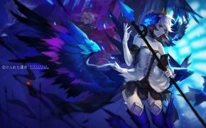Обои девушка, крылья, аниме, перья, арт, посох, парень, swd3e2, odin sphere, gwendolyn