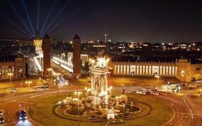 Картинка ночь, дороги, Испания, фонтаны, Барселона, Barcelona, Spain