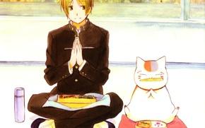 Картинка кот, окно, обед, термос, Natsume Yuujinchou, Тетрадь дружбы Нацумэ, бенто, школьник, ben-to, Nyanko-sensei, Natsume Takashi, …