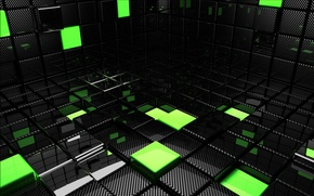 Обои кубы, квадраты, кубики, зеленые, черные