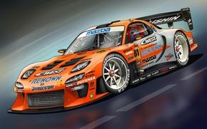 Картинка арт, Mazda, front, мазда, RX-7, race car, обвес