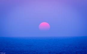 Обои небо, солнце, закат, океан, вечер, Япония, горизонт, сиреневое