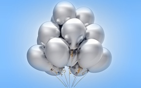 Картинка воздушные шары, silver, celebration, holiday, balloons