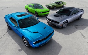Картинка green, Dodge, Challenger, cars, grey, muscle, blue, 1970, and, R/T, 2015
