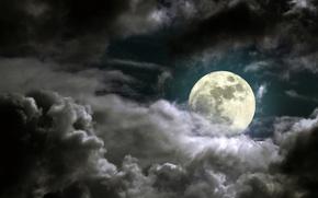 Картинка небо, лунный свет, sky, moonlight, full moon, полная луна, облачно ночь, cloudy night