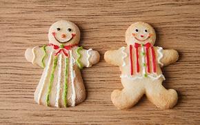 еда, пища, вкусно, новогоднее печенье, праздник, новый год, new year, печенька из Шрека, мальчик, девочка, улыбки, стол, деревянный обои