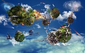 Картинка небо, планеты, корабли