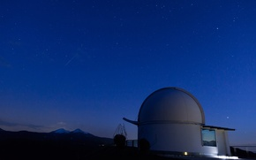 Картинка sky, mountains, clouds, stars, telescope, technology, long exposure, observation