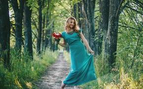 Картинка девушка, цветы, природа