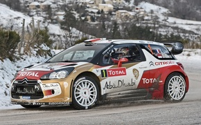 Картинка Зима, Колеса, Citroen, DS3, WRC, Rally, Вид сбоку, D. Elena, S. Loeb