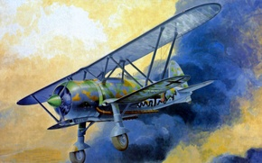 Картинка war, art, airplane, painting, aviation, biplane, Fiat CR.42 Falco