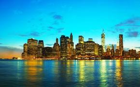 Картинка закат, красота, небоскребы, США, Нью Йорк, New York