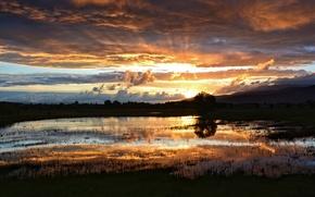 Картинка солнце, облака, лучи, закат, озеро, болото, вечер, после дождя