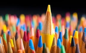 Картинка Макро, Красный, Синий, Карандаши, Цветные, Red, Жёлтый, Зелёный, Blue, Green, Color, Yellow, Macro, Pencils