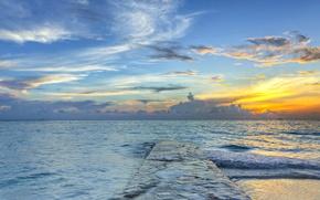 Картинка море, небо, облака, закат, пирс