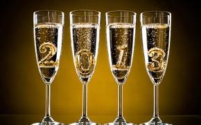 Картинка праздник, Новый Год, бокалы, Рождество, цифры, шампанское, 2013