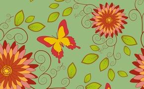 Картинка бабочки, фон, текстура, цветочки