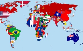 Картинка карта, Флаги, год, мира, стран, 1930