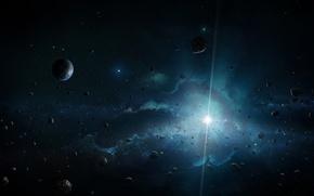 Картинка космос, звезда, планеты, астероиды, арт, яркая, Divine