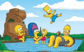 Обои симпсоны, мэгги, мардж, homer, отдых, bart, the simpsons, барт, maggie, лиза, природа, marge, гомер, lisa