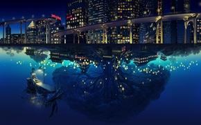 Картинка город, отражение, дерево, лодка, робот