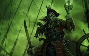 Обои зеленый, череп, попугай, призрак, капитан