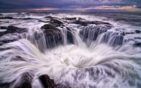 Картинка небо, пена, вода, тучи, камни, берег, побережье, вечер, Орегон, прибой, США, синее, потоки, Тихий океан
