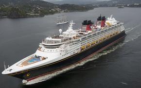 Картинка море, парусник, Норвегия, лайнер, Norway, круиз, Северное море, North Sea, Берген, Bergen, Disney Magic