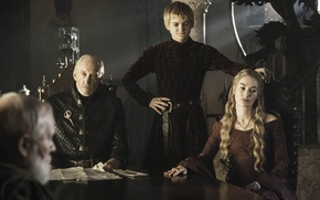 Картинка Game of Thrones, Lena Headey, Баратеоны, Jack Gleeson, Charles Dance, Джоффри, Серсея, Тайвин, Ланнистеры