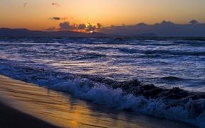 Картинка берег, побережье, песок, море, волны, вода, вечер, даль, солнце, горизонт, облака, природа, пляж, небо, пейзаж, ...