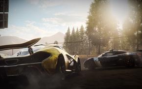 Картинка лес, гонка, дым, Koenigsegg, дарога, суперкары, McLaren P1, Need for Speed Rivals