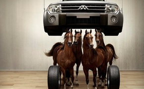 Обои 153, колеса, лошади, паркет