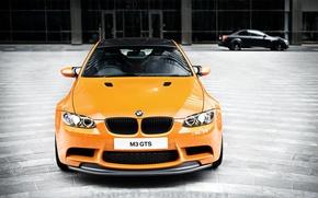 Картинка оранжевый, bmw, бмв, передок, orange, e92, дневной свет, углепластиковая крыша, m3 gts