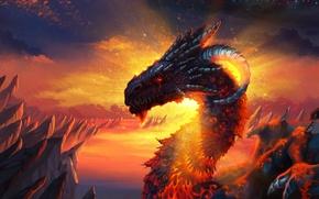 Картинка дракон, лава, склы
