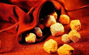 Картинка камни, золото, мешок, красный фон