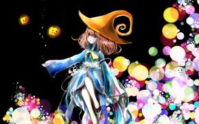 Картинка шляпа, аниме, арт, девочка, тыквы, бант, milkuro