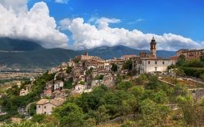 Обои горы, дома, Италия, городок, Italy