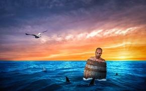 Картинка море, человек, бочка