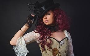 Картинка девушка, портрет, макияж, шляпка, creative, circle, Steampunk, Kayleigh Baldasera