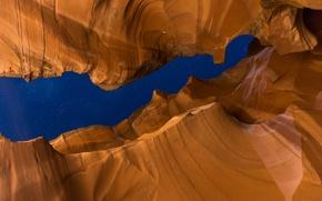 Картинка небо, звезды, ночь, скалы, текстура, Аризона, США, Каньон Антилопы
