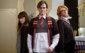 Обои шарф, Джим Керри, палочка, шрам, Yes Man, Всегда говори «Да», Гарри Потер