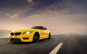 Картинка Car, Sunset, Speed, Front, Yellow, Abudhabi, BMW