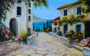 Картинка лето, цветы, река, улица, окна, дома